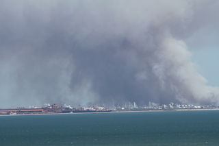 Fire across the bay