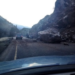 Huge Boulder Slams Highway