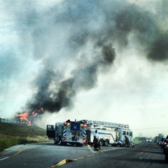 Fire from Hay Truck on I-35