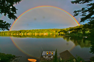 Reflecting Rainbow on Lake Singletary