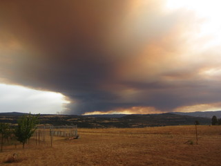 Fire across the Columbia River in Oregon