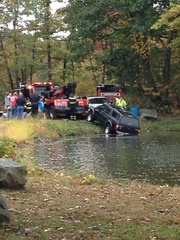 Car pulled from Dorothy Pond in Millbury, Mass.