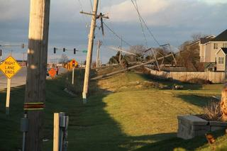 Electrical lines down due to tornado in Central Illinois