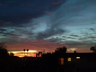 Sunset from our porch, in city heights