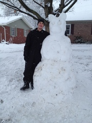 Made a snowman in heavy falling snow in Plainfield, In