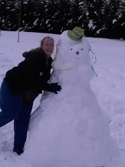 Robin with her snowman in Dallas, NC