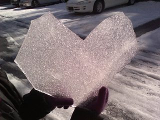 An icey heart found on valentines day