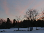 Friday, 3/7/14 Pink Sunset at Cross Hill, Vassalboro