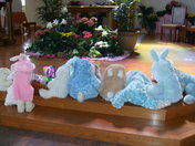 Bunny Family goes to Blessing of Baskets at St. Angela Merici in White Oak
