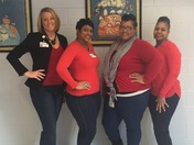 principal and office staff at McWillie GO RED DAY