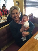 Hillary Clinton meeting one her youngest supporters!