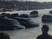 Cars sinking fast in Lake Geneva.