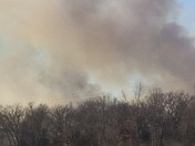 large fire I 40 highway 177 Shawnee