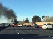 Car on fire this morning on 50