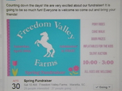 Freedom Valley Farms 1st annual Spring fundraiser this Saturday April 30th