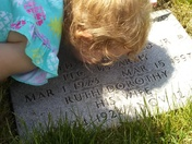 Visiting her great grandfather and great grandmother