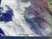 Satellite view of Soberanes and Chimney fire smoke plumes