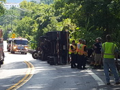 Overturned tractor trailer on York Rd