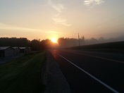 Sun rise over mist