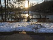 Sun shining on snow on the Lake
