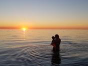 Lake Michigan sunset embrace
