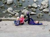 The girls, enjoying the dam