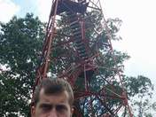 Silly Jacob at the Fire Tower at Mohican Date Park