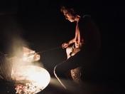 Marshmallows roasting on open fire
