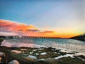 Overseas Highway and Historical Bridge Sunset