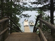 Stairway to boat and paddle boards in Ponderosa State Park