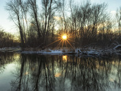 Huron River Wintery Sunset