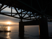 Sunset under Mackinaw Bridge Park