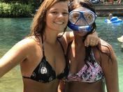 Sisters snorkeling n the Springs