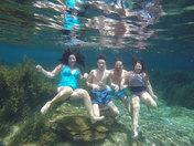 Family Submersed In Fun