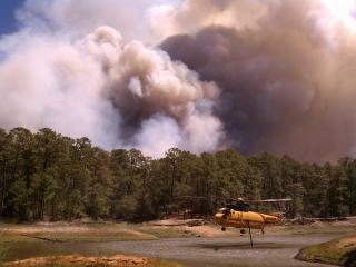 Fire fighting at Bastrop State Park, texas