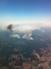 TX wild fires from Air. CO flight from Tokyo, Japan to Houston.