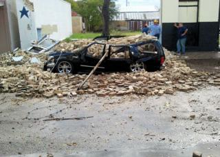 Storm Damage in Gonzales Texas - SUV Crushed