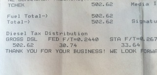 1/2 a tank in a semi... $502...$64.38 of which is TAXES