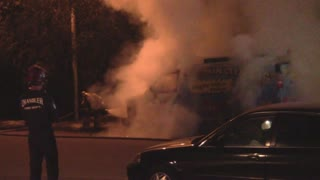 Van Explodes Into Flames. Fire Fighters Crush Flames!