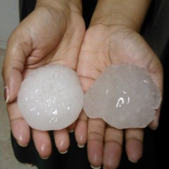 Baseball-sized hail in Euless, TX