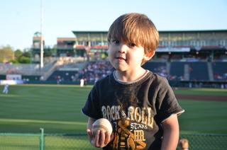 Grandson with Baseball at Cardinals Game