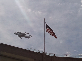 Shuttle Flying over Heritage Foundation