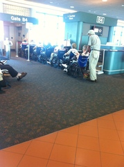 Typical boarding line at Sarasota Airport