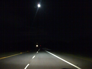 Supermoon Behind the Wheel