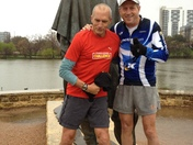 "With Bart Yasso of Runner's World, helping lead the ""shakeout"" run @ Austin Mara"