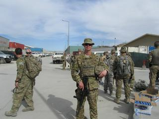 Airman serving overseas with the Area of Responsilibility, (XXXX), Afganistan