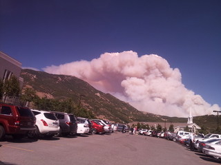 Alpine, Utah wildfire view from Draper