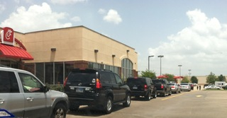 A waiting line for Chick-fil-a and free speech!