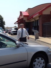 Oxford Chick-Fil-A manager directing drive-thru