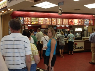 Lines at Chick-Fil-A in York, PA